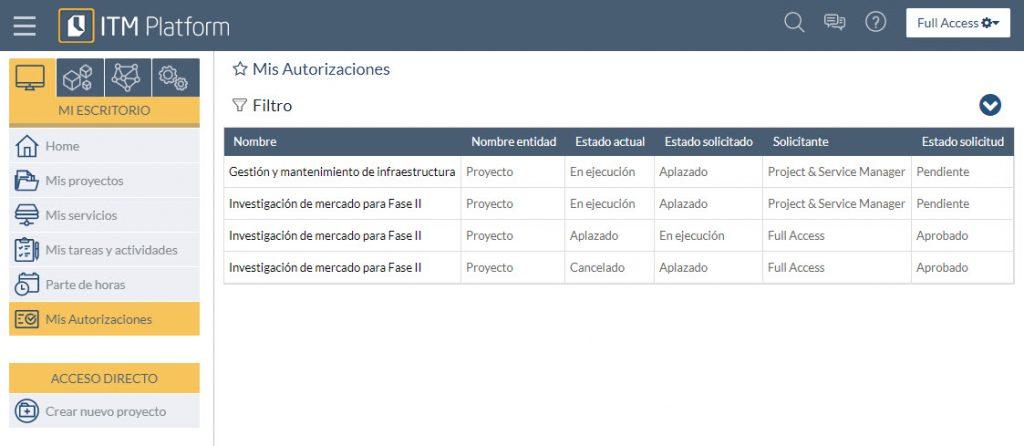 Menú de autorizaciones de estado - ITM Platform